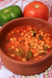 White bean soup in serving bowl