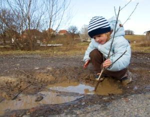 Playing in puddle